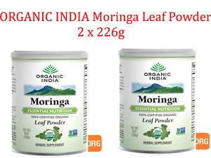 2 x 226g ORGANIC INDIA Moringa Leaf Powder  452g total ( Nutritional Superfood )