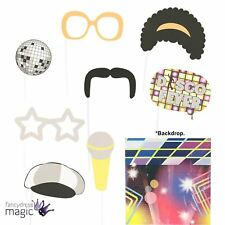 Disco Retro 60s 70s Photo Booth Prop Kit Set Novelty Party Decoration 6 Pack New