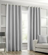 Luxury Faux Silk Eyelet Fully Lined Curtains Ring Top Black Silver Mustard