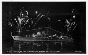 Destroyer Coronation Fleet #K5516 1950s UK Military RPPC Photo Postcard 21-2024