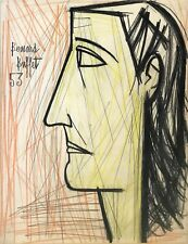 "BERNARD BUFFET ""PROFIL DE FEMME"" 1953 | ORIGINAL PENCIL/CRAYON DRAWING ON PAPER"