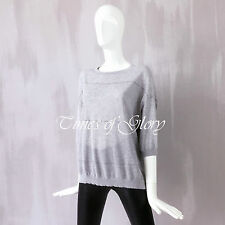 Brunello Cucinelli Signature MONILI Beaded Grey Oversize Jumper Top Size S M