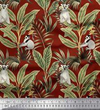 Soimoi Fabric Leaves & Lemur Animal Decor Fabric Printed BTY - AN-717A