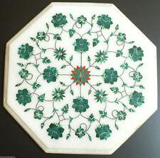 "12"" Marble Table top handicraft semi precious stones malachite marquetry inlay"
