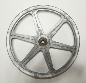 "2 Non-Magnetic Metal 12'' 7 Spoke Pulley Wheels ½"" Belt Grove 5/8"" Center Hub"
