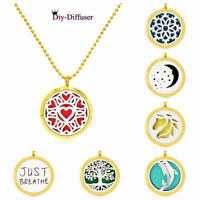 Gold Aroma Necklace Zinc alloy Locket Essential Oil Diffuser Perfume Size 30mm