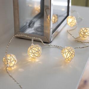 16er LED Rattan Ball Lichterkette Batteriebetrieb Sommer Ostern Deko Beleuchtung