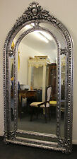 ANTIQUE VINTAGE STYLE LARGE LOUIS CARVED SILVER FRENCH MIRROR BEVELED C376