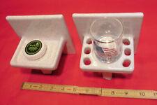 Vintage *Gold Mist-Dust* Ceramic Soap Dish & Cup Holder;  White Speckled  NOS