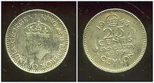 CEYLAN  25 cents 1943 ( bis )