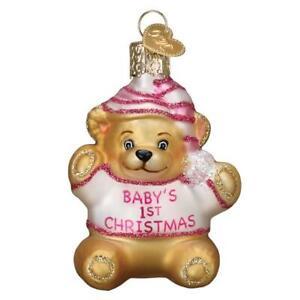 Old World Christmas BABY'S 1st TEDDY BEAR (Pink) (12065)N Glass Ornament w/Box