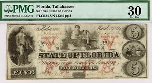 Scarce $5 State of Florida, Tallahasse. 1864. CR-34. PMG 30 Very Fine.