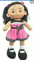 "LINZY FREYA Fabric Rag Doll, plush, Handmade with Pink Dress 16"" inches"