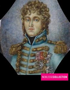 ANTIQUE 1890s FRENCH MINIATURE PAINTED JOACHIM MURAT KING OF NAPLES PORTRAIT