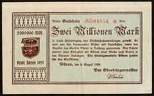 1923 Duren Germany Two Million Mark Currency Note, VF+