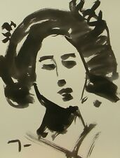 JOSE TRUJILLO - Modern Art ABSTRACT EXPRESSIONIST INK WASH PORTRAIT DECORATIVE