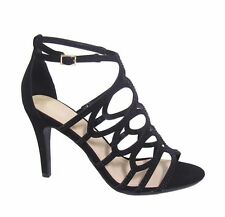 New Women's Black Glitter Rhinestone Strappy Open Toe Party Stiletto High Heels