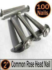 "(100) 2"" - COMMON ROSE HEAD NAIL  - Antique Vintage Rustic Nails - 6d"