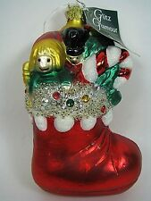 Christborn Christmas Ornament Swarovski Crystals Germany Handcrafted Blown Glass