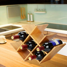 Wine Rack Storage Organizer Butterfly Shaped 8-bottles Bamboo Counter top