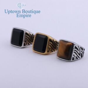 Black Onyx/Tiger Eye Gemstone Men's Stainless Steel Ring Band Size:8-13#AB