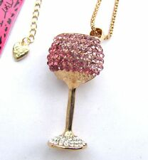 Betsey Johnson shiny pink crystal Delicate goblets pendant Necklace,301L