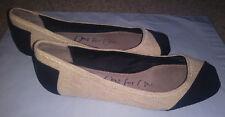 TOMS Womens size 9  Alessandra Natural & Black Burlap  Ballet Flats shoes