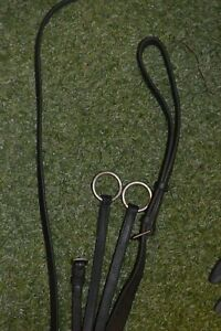 RUNNING MARTINGALE WITH NEW REIN STOPS BLACK LEATHER USED COB SIZE