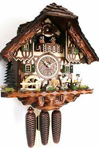 cuckoo clock hettich black forest 8 day original germany music beer drinker NEW