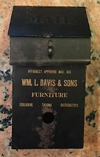 "Extremely Rare Early 1900's Advertising Mailbox Davis Furniture 9 5/8"" T X 5"" W"