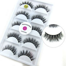 100% Real Mink Fur 3D False Eyelashes Cross Wispy Fake Eye Lashes 5 Pairs 014