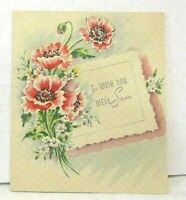 Vintage 1930's Get Well Greeting Card Art Deco Style Lithograph Floral Graphics