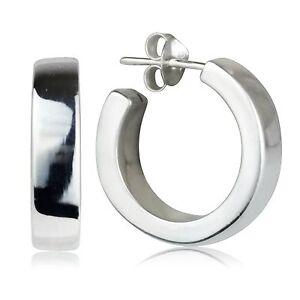 Sterling Silver Fine Quality Chunky Hoop Stud Earrings