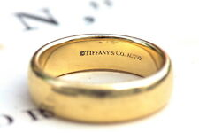 TOP QUALITY GENUINE TIFFANY SOLID 18K GOLD 6mm DESIGNER WEDDING BAND RING sz7.5