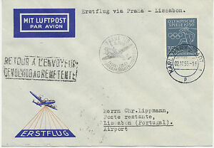 """DDR 1956,Erstflug CSA """"PRAG – ZÜRICH"""" mit Endbestimmung """"LISSABON"""", RRR!!!"""