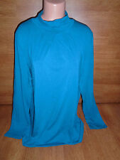 New Womens Plus Size 3X Northcrest Essential Tee T Shirt L/S Lyons Blue Top