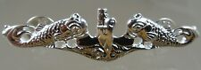 US NAVY Licensed SUBMARINE DOLPHIN REGULATION STERLING SOLID BACKED PIN BADGE