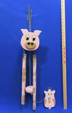 Pig Wind Chime Wooden Paint Pink Brown 4 Metal Chimes 4 Tones Chains Handcrafted
