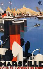 Marseille 1929 Vintage Travel Cruise Ship Giclee Canvas Print 20x32