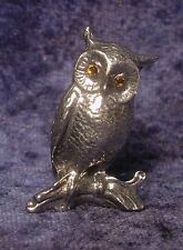 Pewter OWL with Golden Crystal Eyes Sitting on Branch