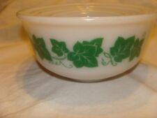 Vintage Hazel Atlas Milk Glass Bowls With Ivy Green Leaves - set of 4