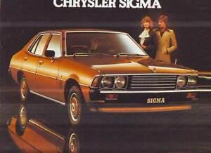 CHRYSLER SIGMA GE SALES BROCHURE  5/1978