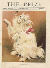 EARLY PERSIAN CAT FELINE PETS ANIMALS CATS LITHOGRAPH COLOR ANTIQUE PRINT 1889