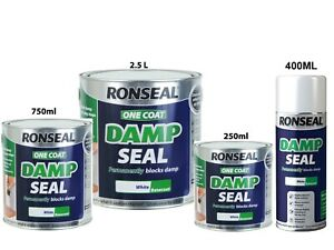 Ronseal One Coat Damp Seal White Paint Permanently Covers & Blocks - 750ml 2.5L