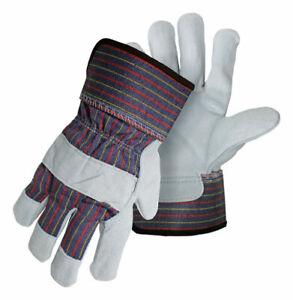 Boss Men's Indoor/Outdoor Split Cowhide Leather Palm Work Gloves Assorted L