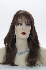 Dark Auburn Red Long Skin Top Straight Wigs