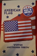 "American Flag Patriotic Woven Jacquard Throw Blanket MADE IN AMERICA 46""X60""-NEW"