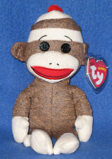 TY SOCKS the BROWN SOCK MONKEY BEANIE BABY - MINT with MINT TAGS