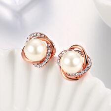 Elegant 18K Rose Gold Plated Cluster of Pearl Dangle Drop Earrings UK NEW