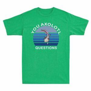 You Gift Cotton Questions Tee Retro Short Men's Sleeve Axolotl T Shirt